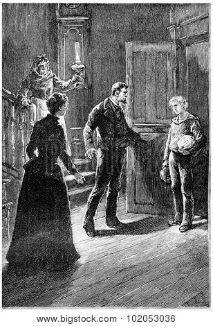 Zach Fren could not restrain an exclamation of surprise, vintage engraved illustration.