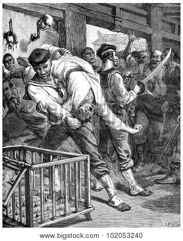 A visit to prisons in Shanghai, I threw myself and pulls alongside my brave sailor, vintage engraved illustration. Journal des Voyage, Travel Journal, (1880-81).