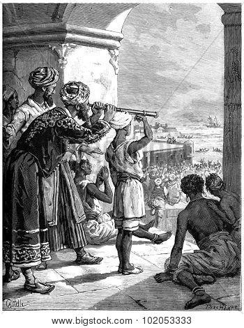 Paris of Lake Tanganyika, From his palace, the sultan distinguished white smoke, vintage engraved illustration. Journal des Voyage, Travel Journal, (1880-81).
