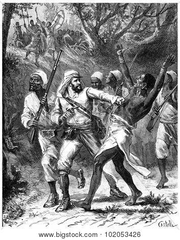 Paris of Lake Tanganyika, Courage make a gap! I exclaimed, vintage engraved illustration. Journal des Voyage, Travel Journal, (1880-81).