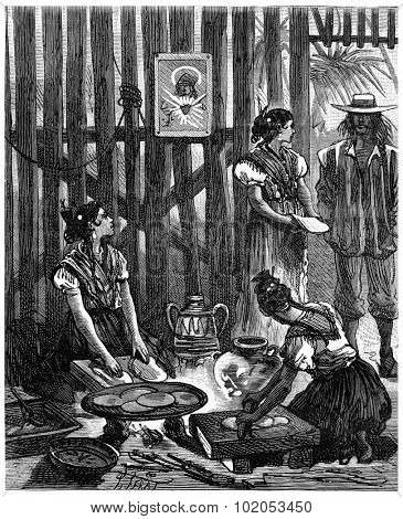 Adventures of an heir worldwide, The brown beauties of Sonora crushed corn boiled, vintage engraved illustration. Journal des Voyage, Travel Journal, (1880-81).