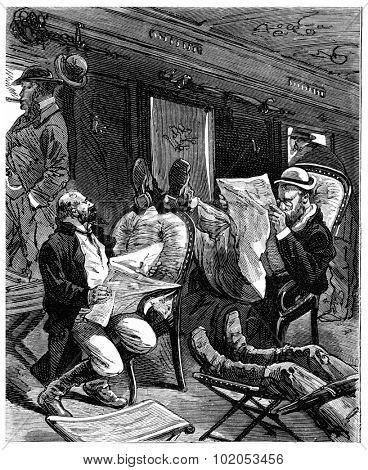 Adventures of an heir worldwide, Jacques turned abruptly, vintage engraved illustration. Journal des Voyage, Travel Journal, (1880-81).