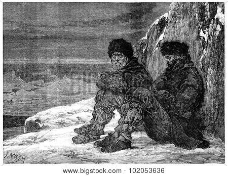 Arctic polar regions, Abandoned Cape York, vintage engraved illustration. Journal des Voyage, Travel Journal, (1880-81).