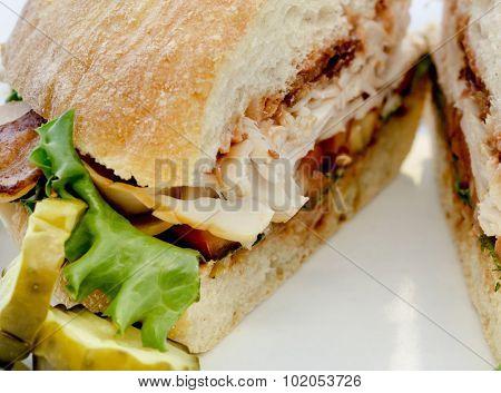 Close up photo of BLT sandwich