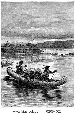 Aboard these fragile vessels that Indians are venturing., vintage engraved illustration. Jules Verne Cesar Cascabel, 1890.