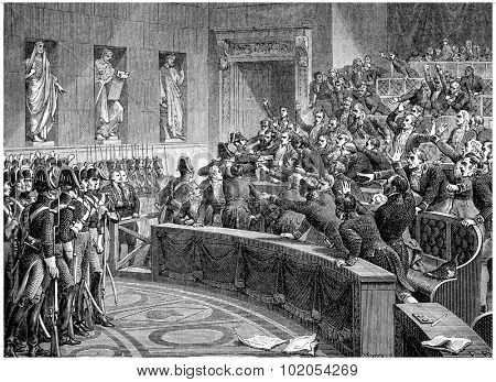 Manuel expelled from the chamber, vintage engraved illustration. History of France 1885  poster