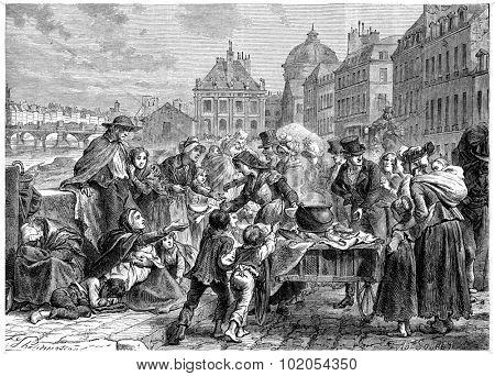 Distribution of food to the starving peasants, vintage engraved illustration. History of France 1885.