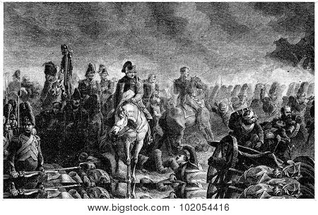 The evening of Waterloo, vintage engraved illustration. History of France 1885.