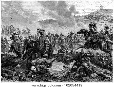 Pin the Battle of Ligny, Blucher overthrown by the charge of cuirassiers, vintage engraved illustration. History of France  1885.