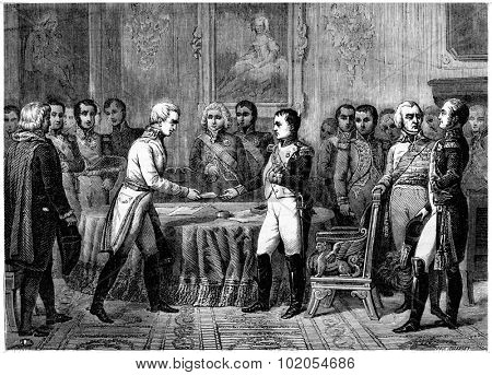 Congress of Erfurt, vintage engraved illustration. History of France 1885. poster