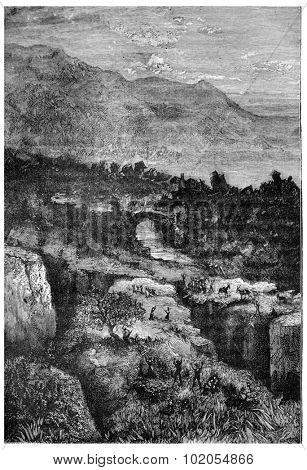 The earthquake, vintage engraved illustration. Earth before man 1886.