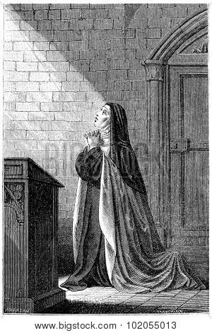 Mrs. Acarie Carmelite nun, vintage engraved illustration.