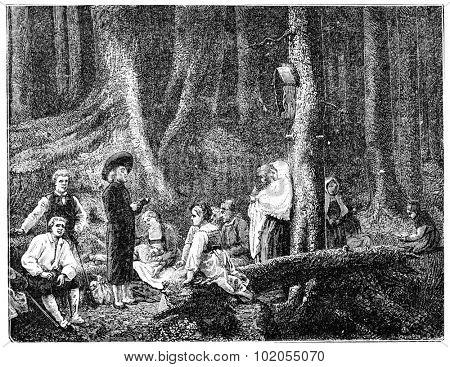 Pilgrims of Saint Odile, after the table of G.Brion, vintage engraved illustration.