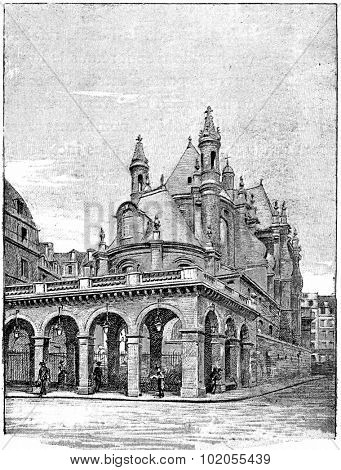 The temple of the oratory from the street of Rivoli, vintage engraved illustration. Paris - Auguste VITU 1890.