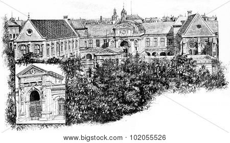 Front door and all of the National Conservatory of Arts and Crafts, vintage engraved illustration. Paris - Auguste VITU  1890. poster