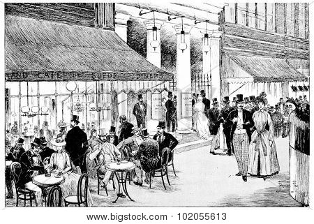 Enter the Theatre des Varietes on the boulevard, vintage engraved illustration. Paris - Auguste VITU  1890.