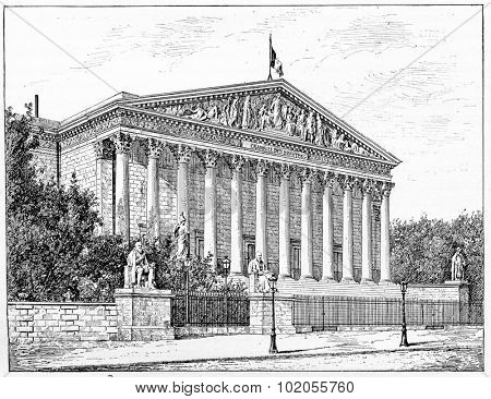 Chamber of Deputies, Peristyle of the Palais Bourbon in front of the dock, vintage engraved illustration. Paris - Auguste VITU  1890.