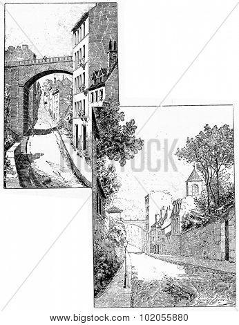 Rue du Moulin-des-Pres, vintage engraved illustration. Paris - Auguste VITU  1890.