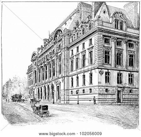 Facade of the new Sorbonne, vintage engraved illustration. Paris - August 1890.
