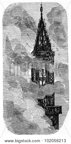 The spire of Strasbourg, vintage engraved illustration. From Chemin des Ecoliers, 1861.
