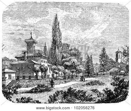 Karlsruhe, vintage engraved illustration. From Chemin des Ecoliers, 1861.