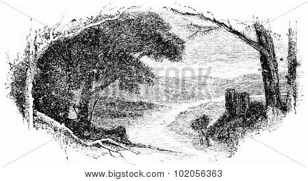 Small town of Calw, vintage engraved illustration. From Chemin des Ecoliers, 1861.