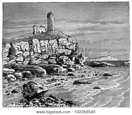 Invasions from the sea shore by the waves eating away at Gallipoli, vintage engraved illustration. Earth before man  1886.