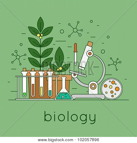 Thin line biology laboratory workspace and science equipment concept. Flat design vector illustration. poster