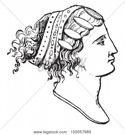 Lydian hairstyles, vintage engraved illustration.