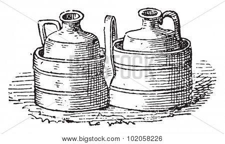 Cruet bottle holders, vintage engraved illustration.