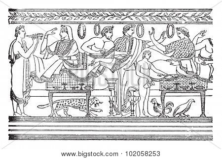 Lunch, after an Etruscan painting, vintage engraved illustration.