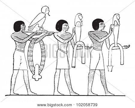 The images of Osiris, vintage engraved illustration.
