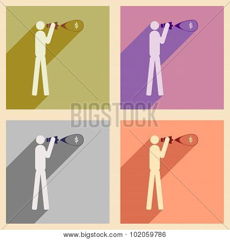 Modern collection flat icons with shadow man megaphone money