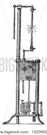 Arc lamp of Duboscq, vintage engraved illustration. Industrial encyclopedia E.-O. Lami - 1875.