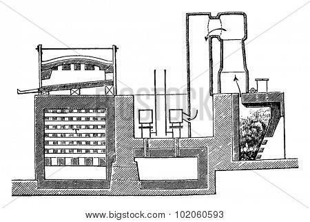 Heating Siemens, section of gasifier and oven, vintage engraved illustration. Industrial encyclopedia E.-O. Lami - 1875.