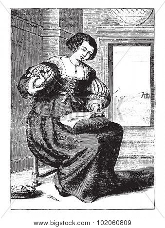 Bourgeoisie after Michel Lasne (seventeenth century), vintage engraved illustration. Industrial encyclopedia E.-O. Lami - 1875.