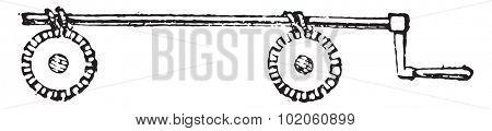 Mechanism simultaneous settlement of two screws, vintage engraved illustration. Industrial encyclopedia E.-O. Lami - 1875.