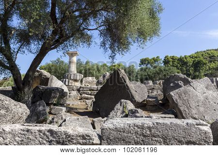Ancient Ruins Of The Temple Zeus, Olympia Archeological Site Peloponnese Greece