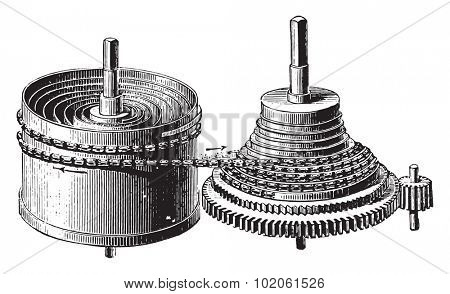 Mainspring barrel and stopwatch rocket, vintage engraved illustration. Industrial encyclopedia E.-O. Lami - 1875.
