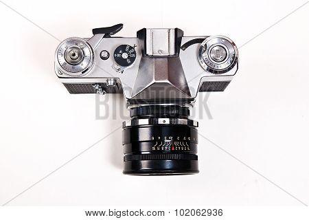 Old Range Finder Vintage Camera On White Background.