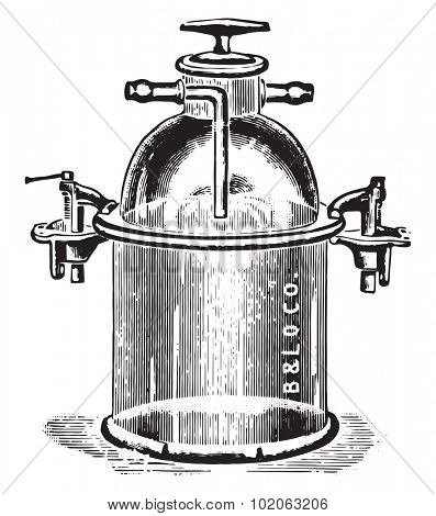 Apparatus for anaerobic cultivation of plates and test tubes, vintage engraved illustration.