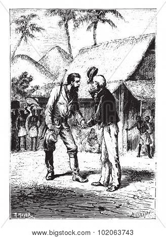 Shake their hands warmly, vintage engraved illustration. From 15 year's old captain book from Jules Verne - 1880  poster