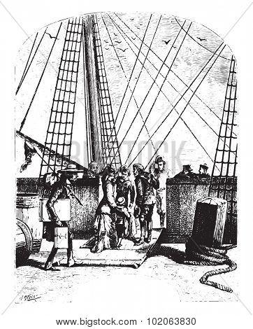 The schooner, Pilgrim, vintage engraved illustration.  Jules Verne, a 15 year old captain.