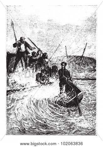 The whale nearly capsized, vintage engraved illustration.  Jules Verne, a 15 year old captain.
