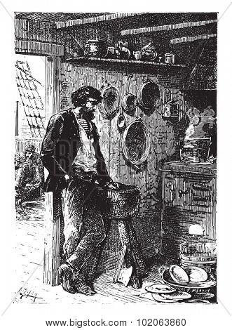 It was a taciturn man, vintage engraved illustration.  Jules Verne, a 15 year old captain.