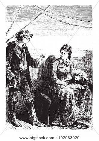 The novice always reassured Mrs. Weldon, vintage engraved illustration.  Jules Verne, a 15 year old captain.