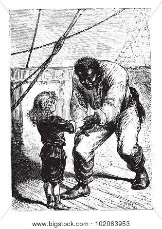 The little Jack, very proud of him, vintage engraved illustration.  Jules Verne, a 15 year old captain.