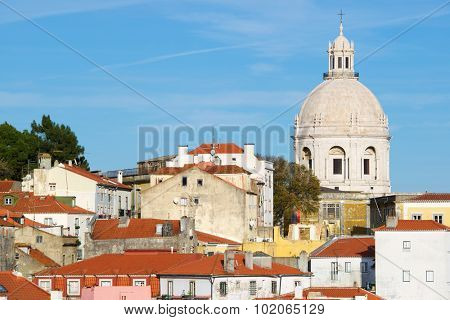 Alfama downtown and Monastery os S. Vicente de Fora in Lisbon, Portugal.