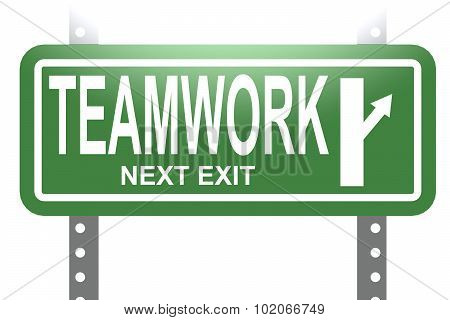 Teamwork Green Sign Board Isolated