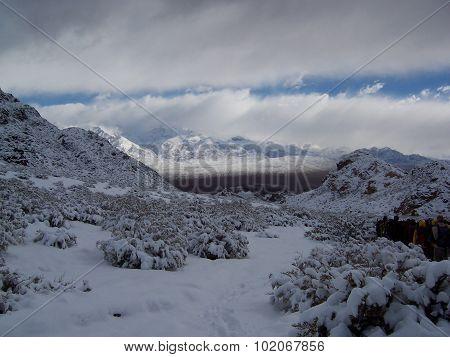 Snowed mountains in Uspallata
